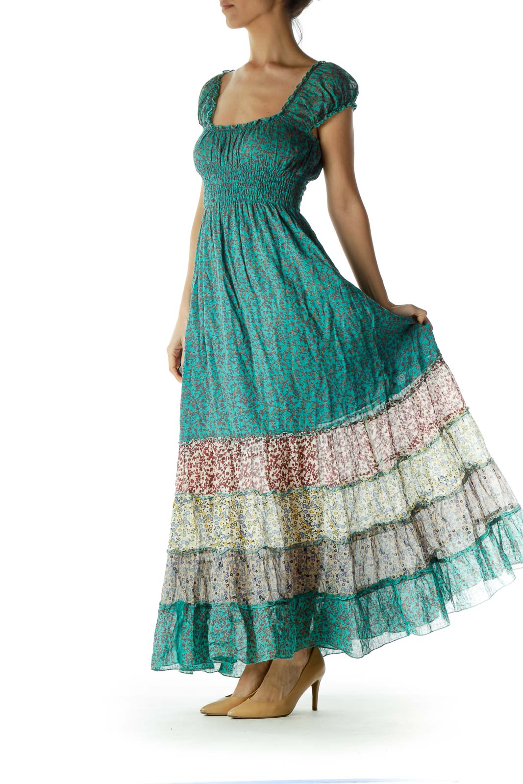 Green Printed Ruched Maxi Dress