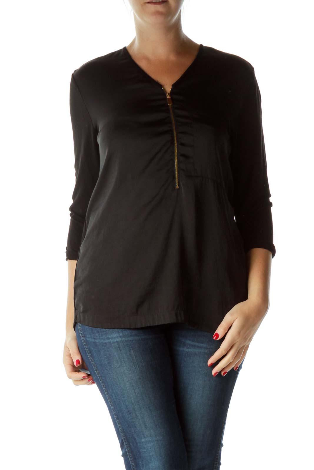 Black Zippered 3/4 Sleeve V-Neck Blouse