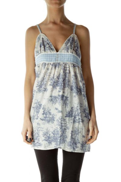 Blue White Printed V-Neck Tank Top