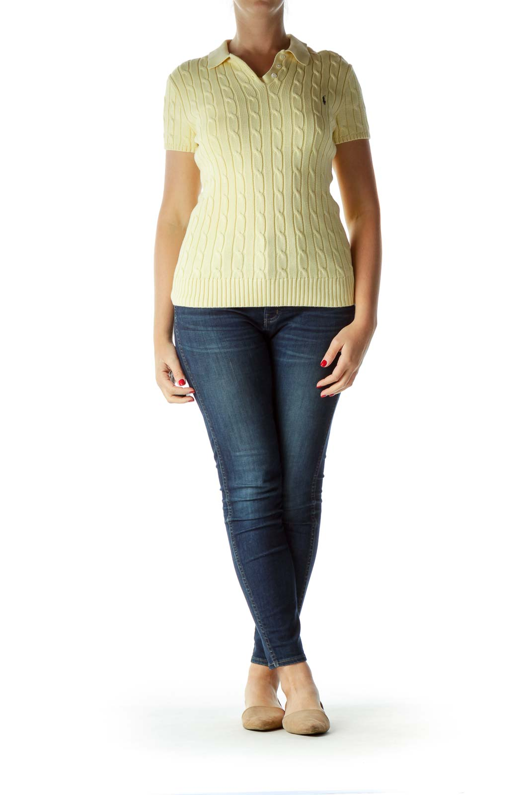 Yellow Cable Knit Short Sleeve Polo