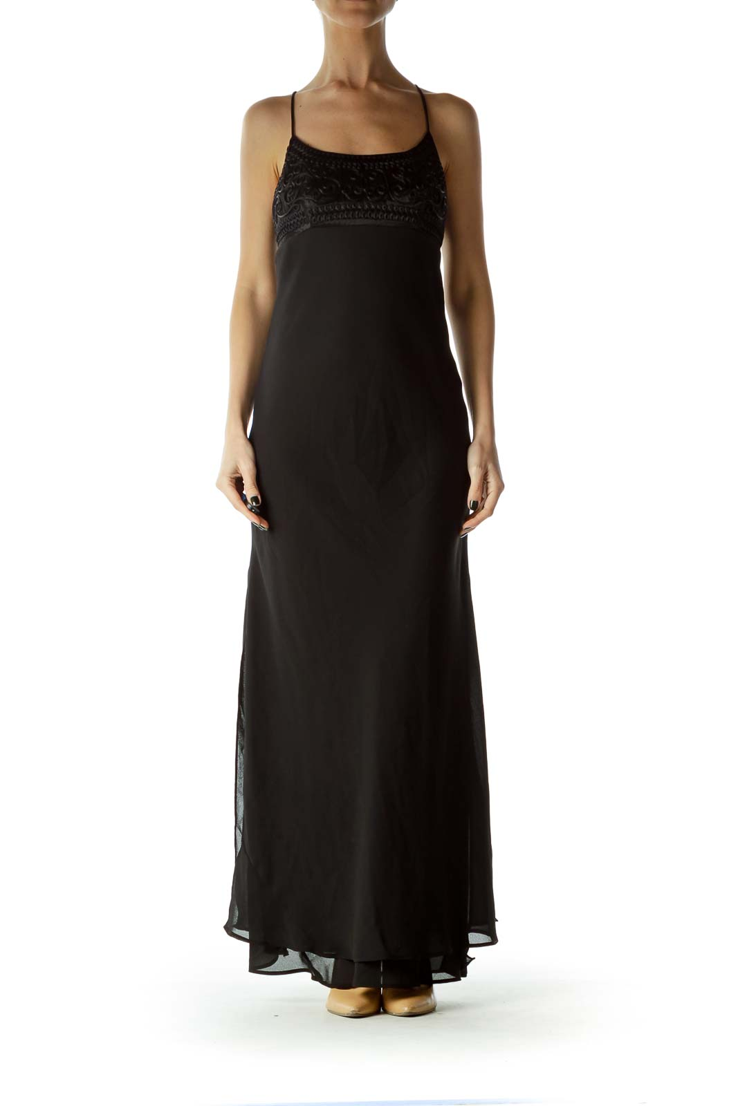 Black Spaghetti Strap Empire Waist Evening Dress