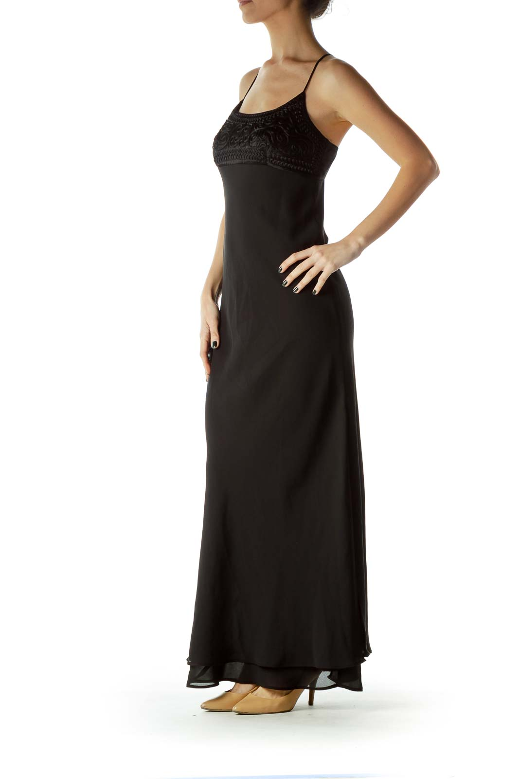 Black Spaghetti Strap Empire Waist Evening Dress