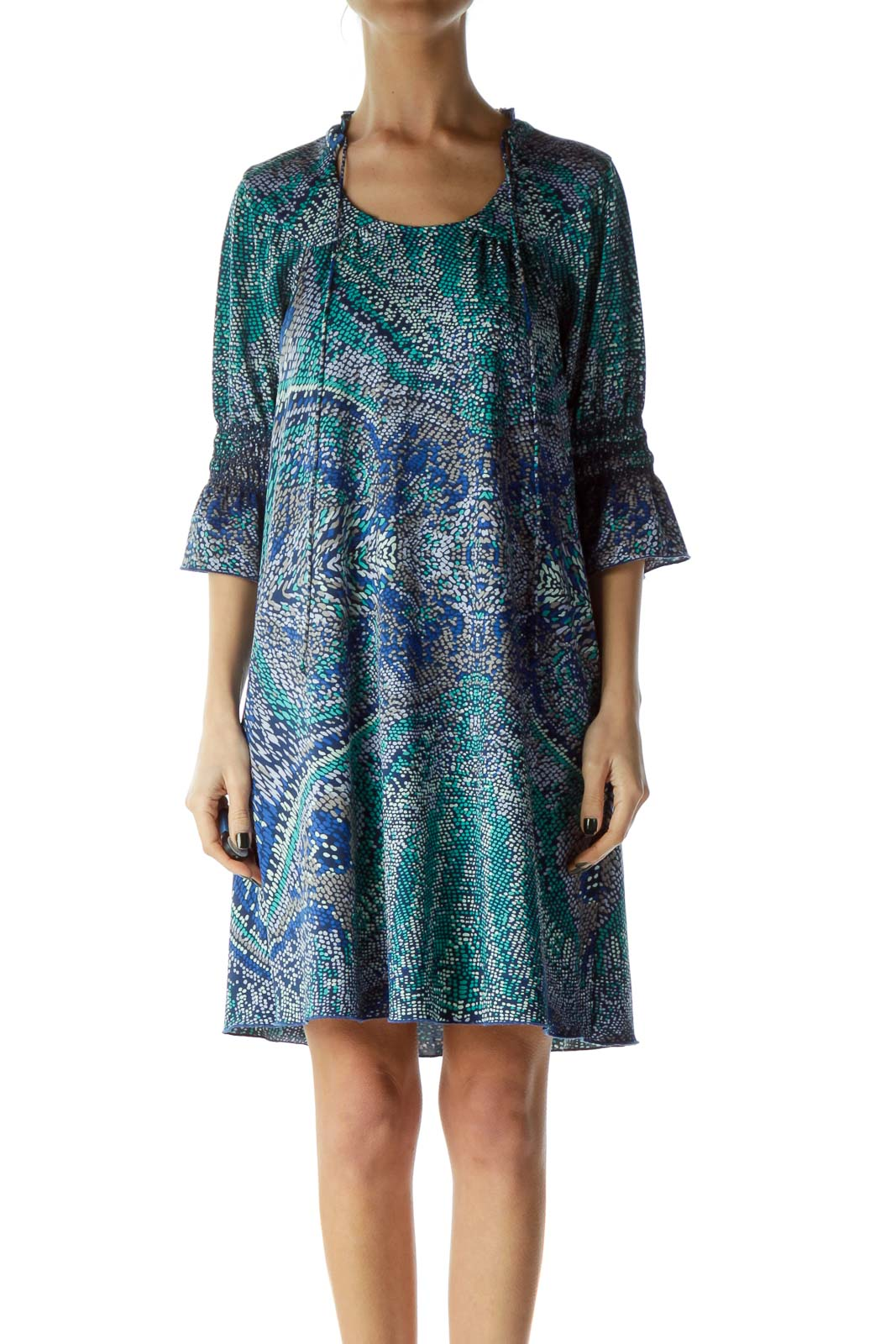 Blue Green Printed Shift Dress with Ruffle Detail