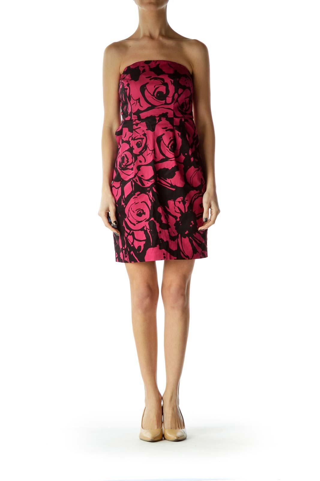 Pink Print Strapless Empire Waist Dress