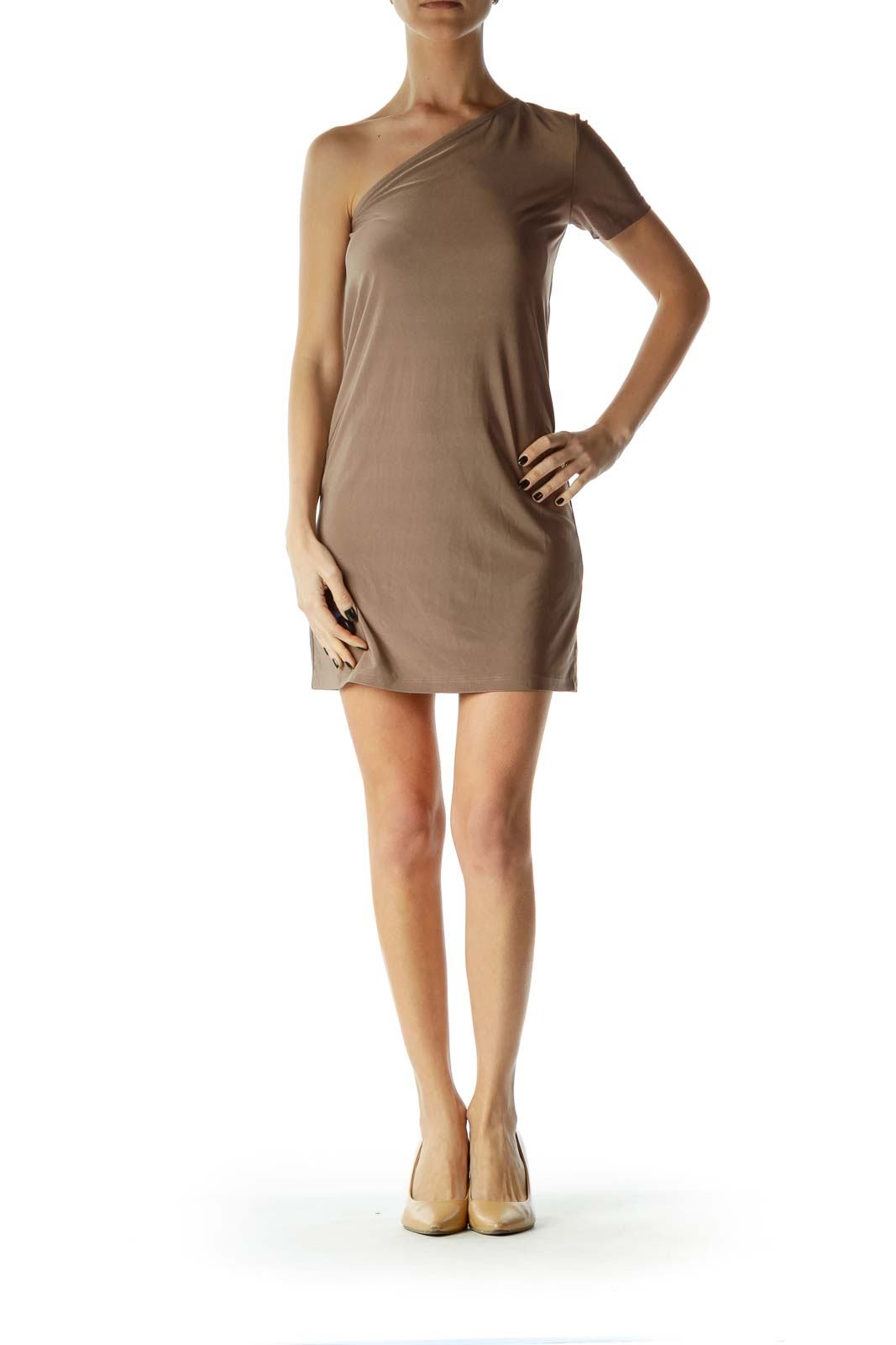 Brown One-Should Shift Dress
