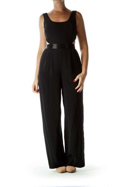 Black Beaded Open-Back Jumpsuit