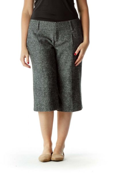 Gray White Cropped Pleated Pants