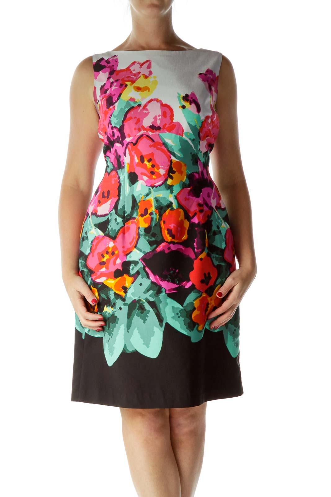 Pink Print Sleeveless Sheath Dress