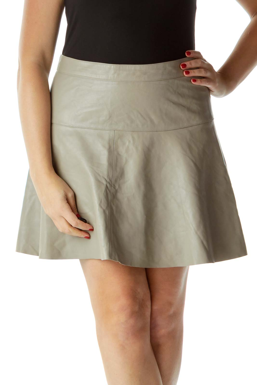 Gray Flared Lamb Leather Skirt