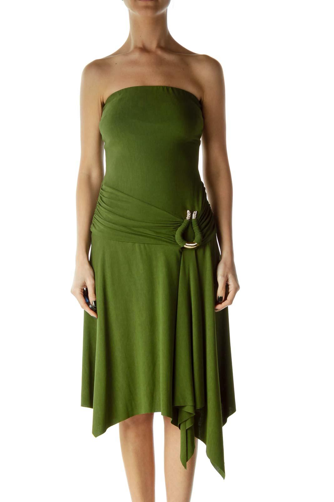 Green Strapless Rhinestone Cocktail Dress