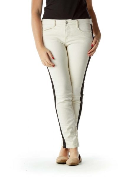 Cream Black Side Accent Skinny Pants