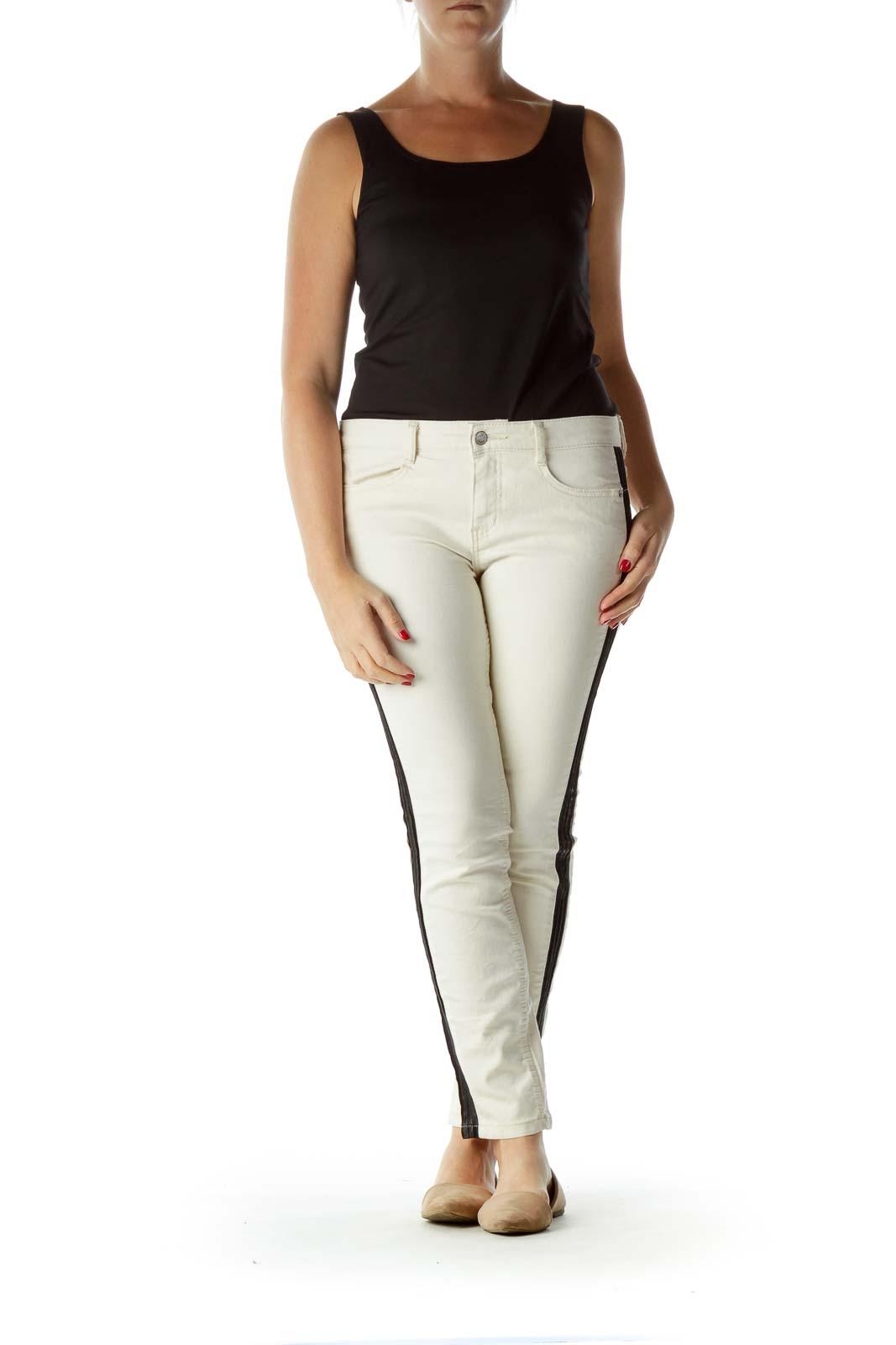 Cream Black Side Accent Skinny Pants