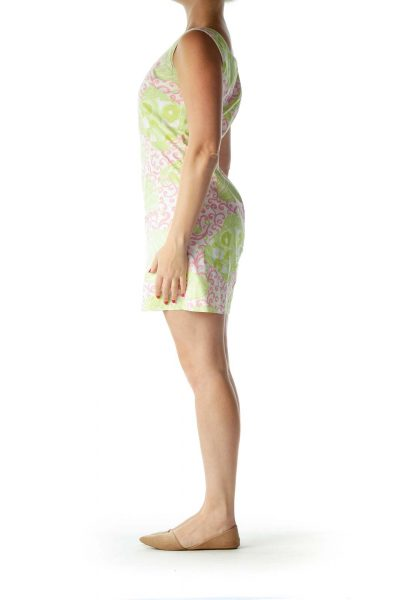Pink Green Square Neck Printed Day Dress