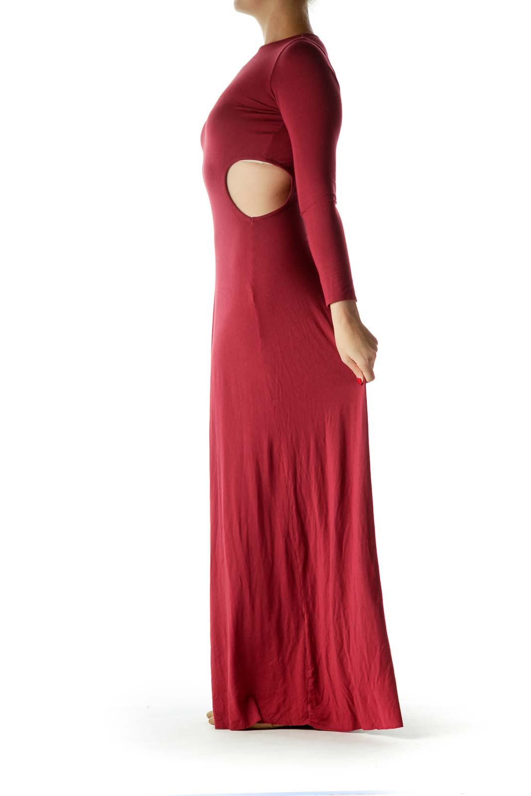 Burgundy Long Sleeve Cut Out Maxi Dress