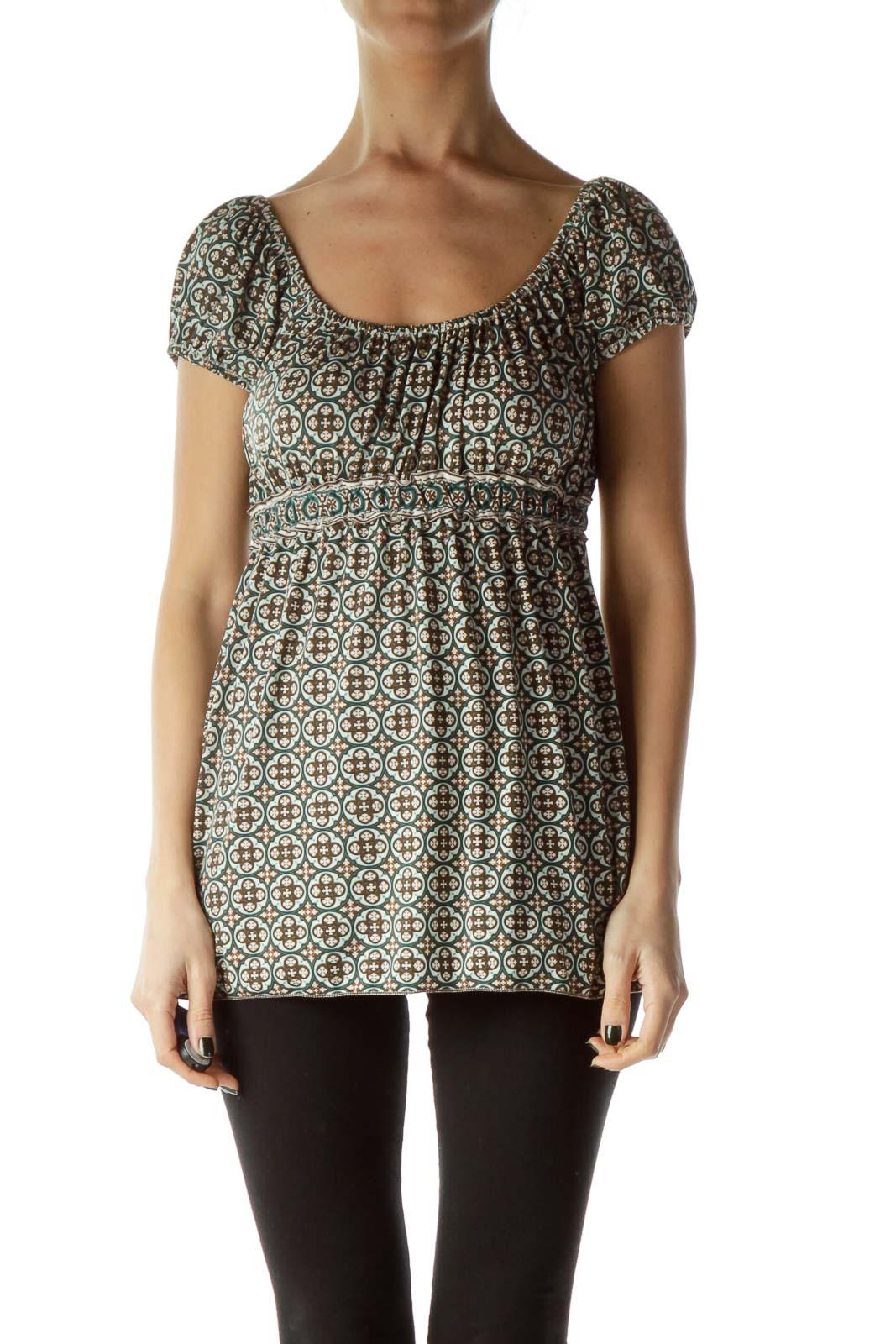 Brown Green Off-Shoulder Print Blouse
