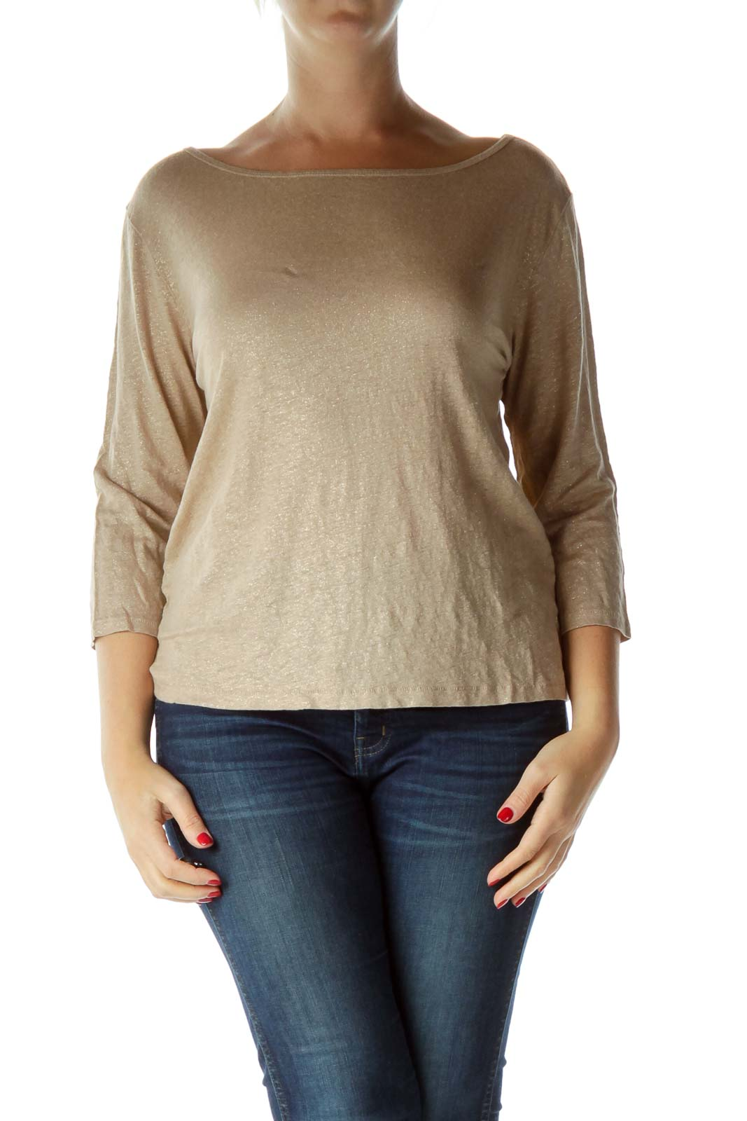 Beige Gold Metallic Boat Neck Top