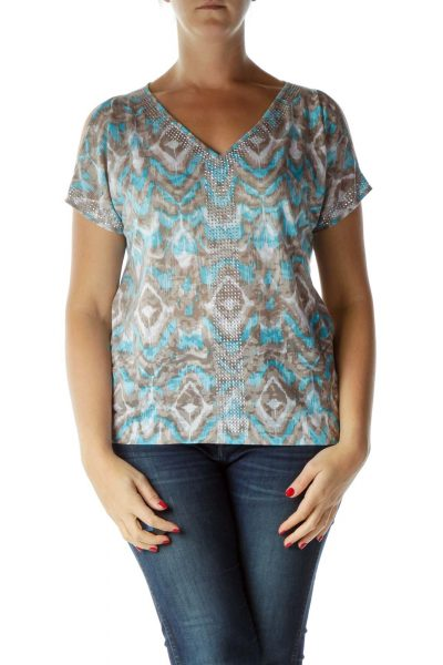 Blue Gray Sequin V-Neck T-Shirt