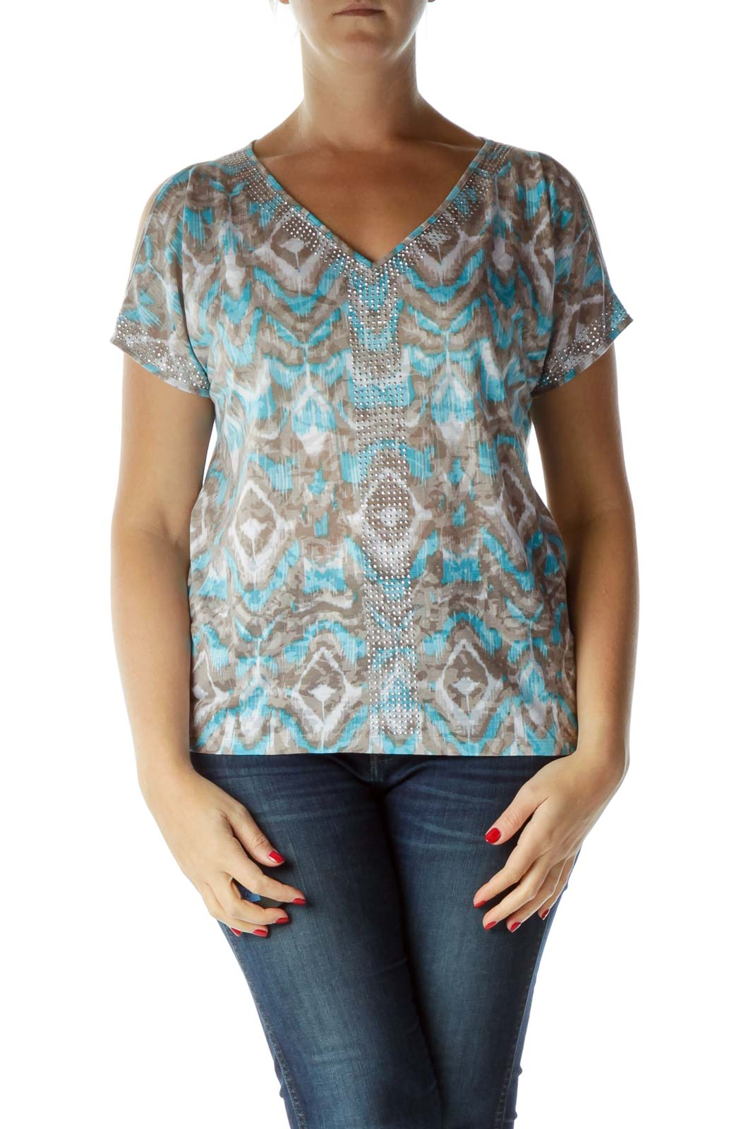 Blue Gray Sequin V-Neck T-Shirt