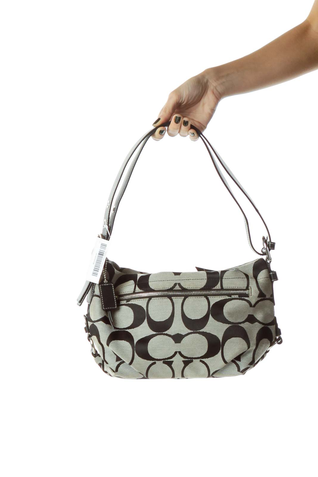 Black Gray Monogrammed Shoulder Bag