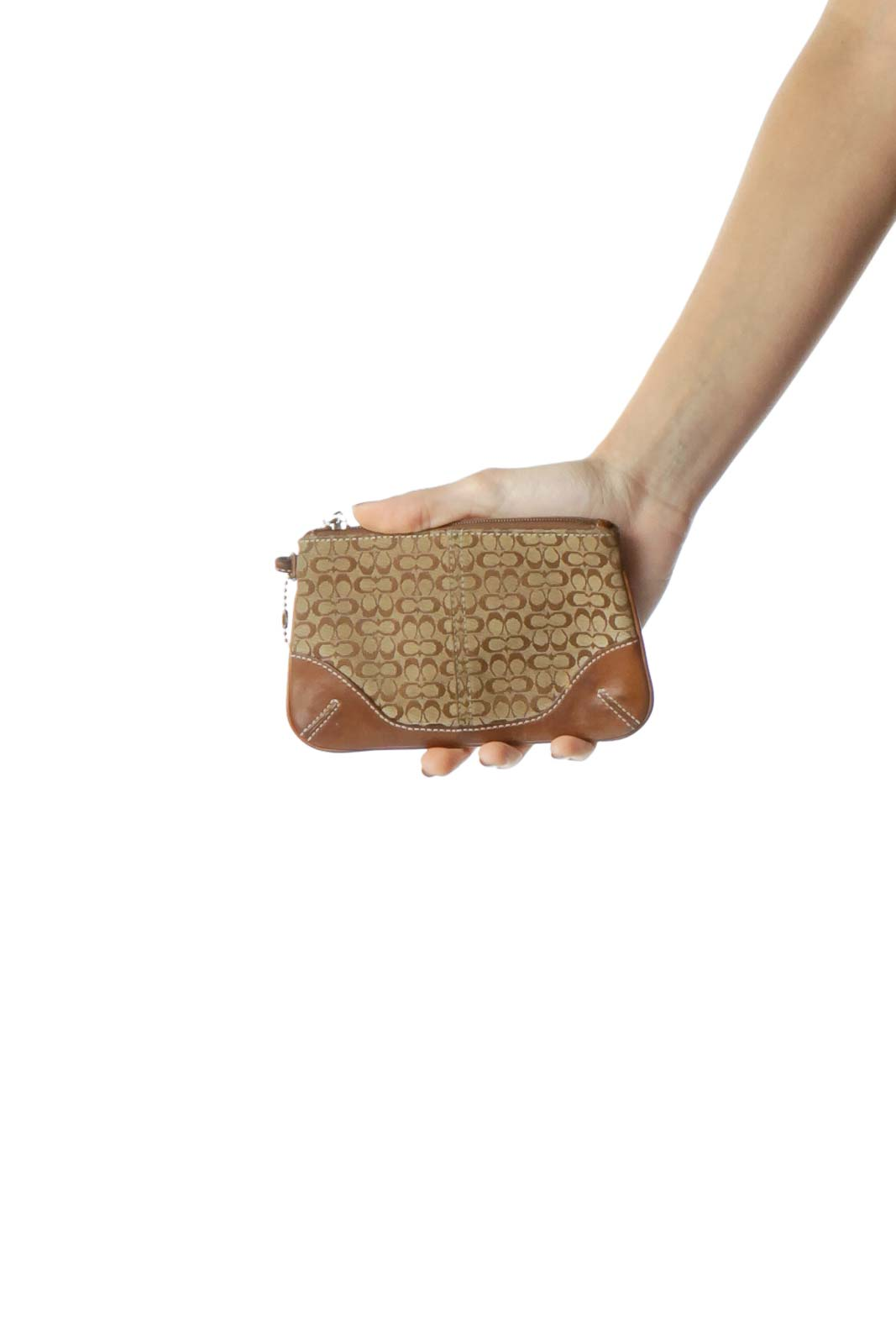 Brown Monogrammed Mini Wristlet