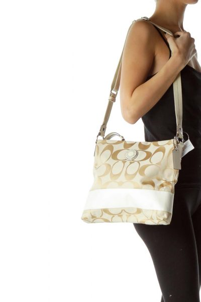 Beige Monogrammed Crossbody Bag