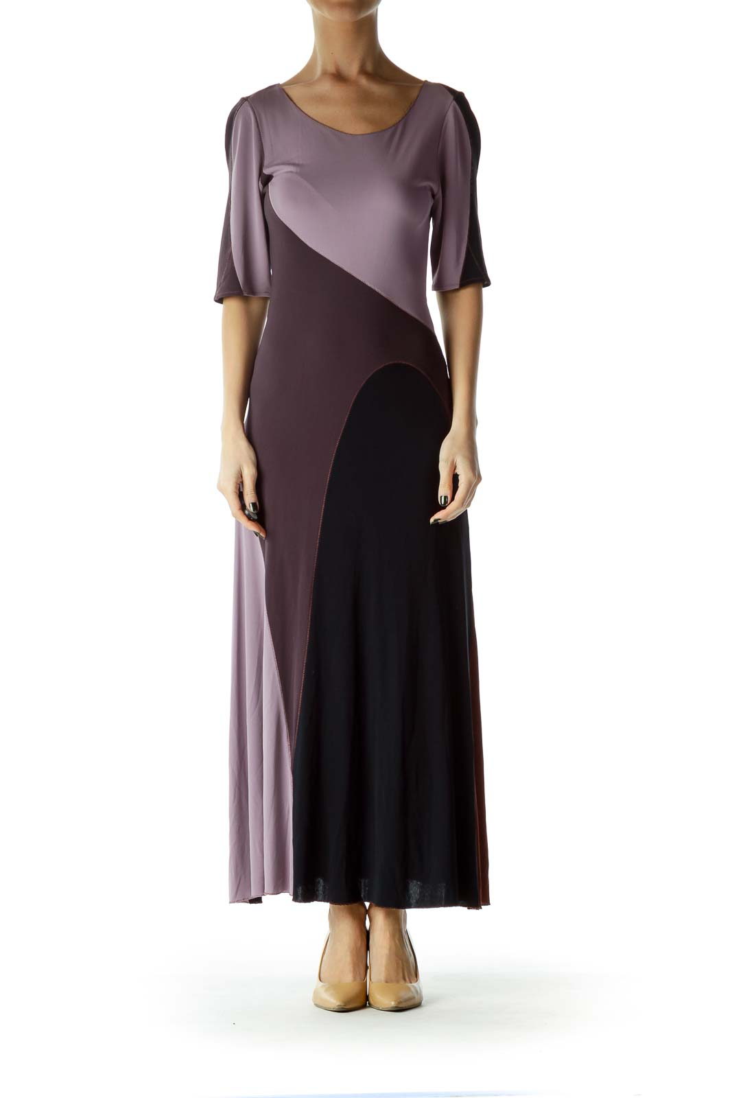Purple Patchwork Maxi Dress