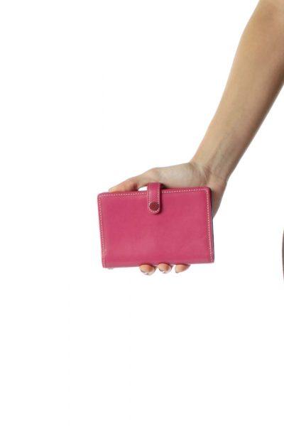 Pink Leather Card Holder Wallet