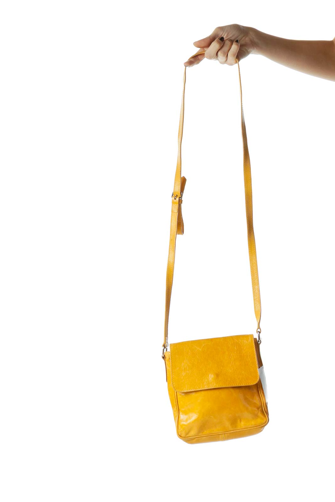 Yellow Leather Flap Crossbody Bag