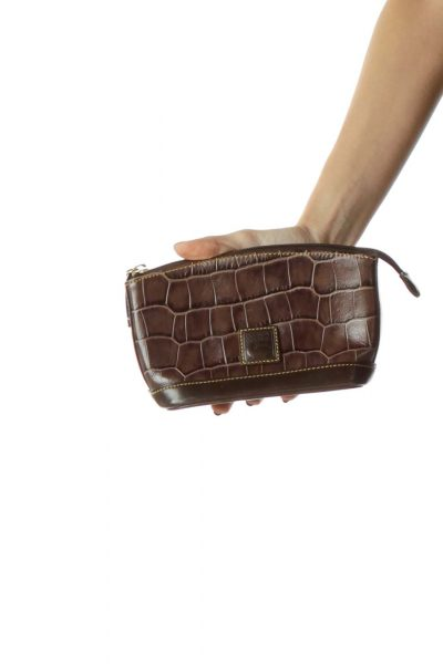 Brown Alligator Leather Pouch