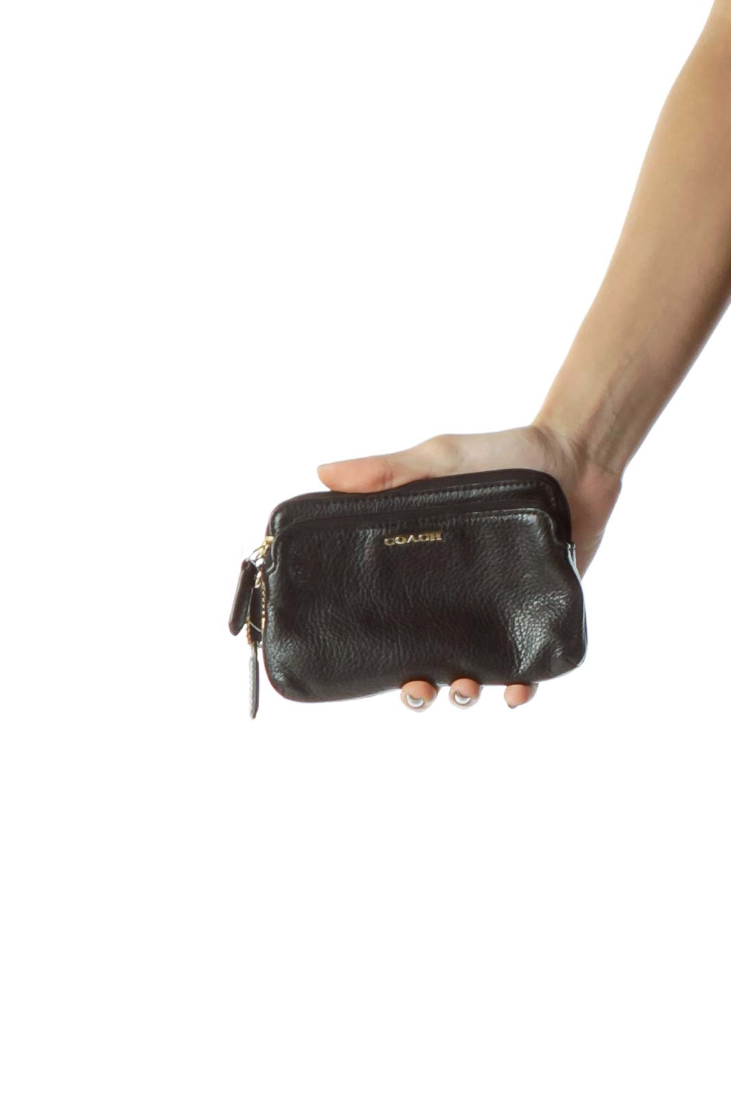 Black Double Zipper Leather Wallet