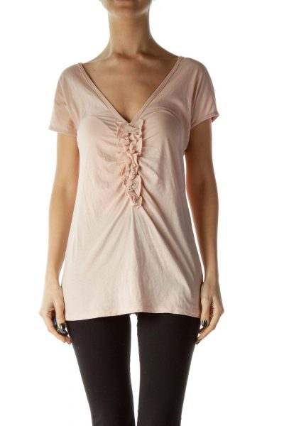 Pink Ruffled Short Sleeve T-Shirt