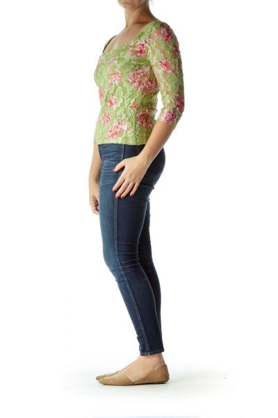 Green Pink Floral Lace 3/4 Sleeve Blouse