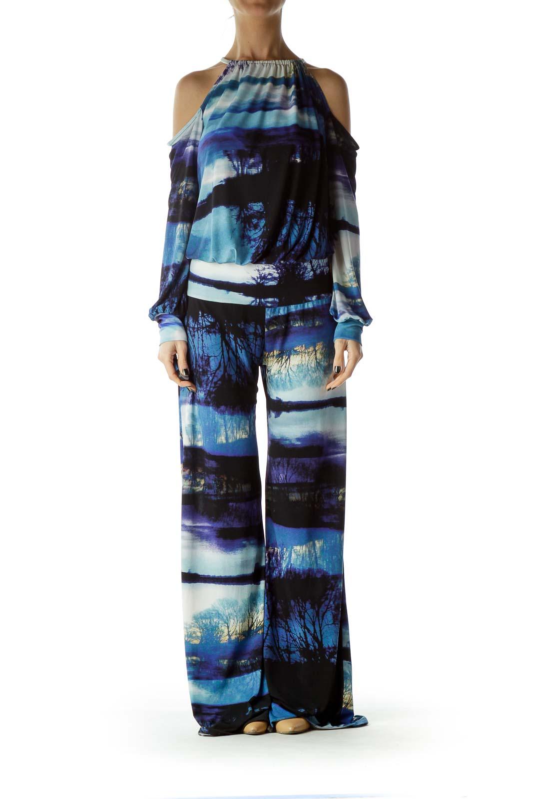 Blue Watercolor Print Cold Shoulder Jumpsuit