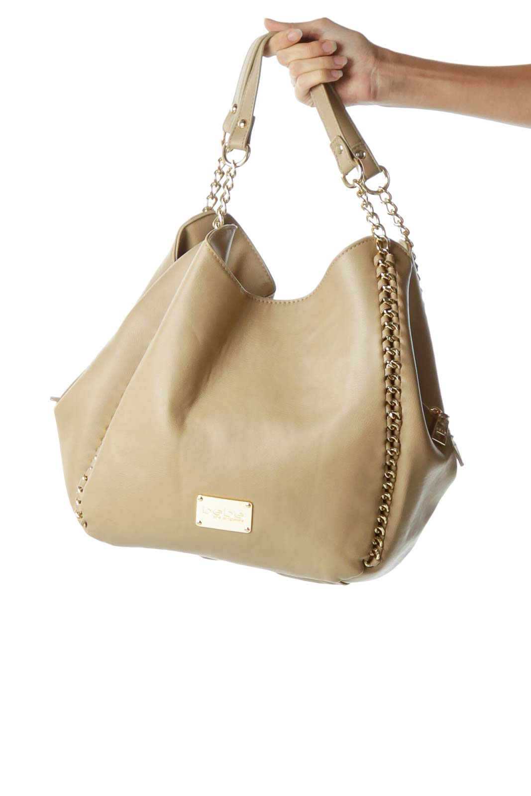 Beige Chain Detail Hobo Bag