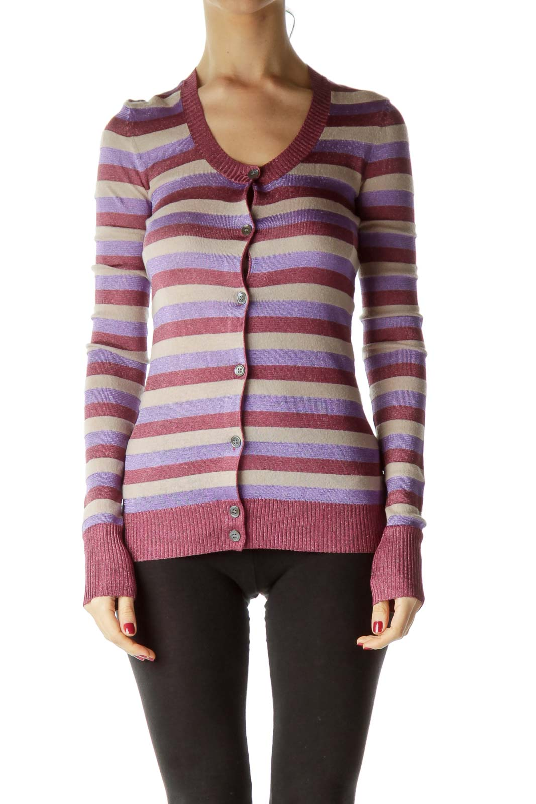 Multicolored Metallic Striped Sweater