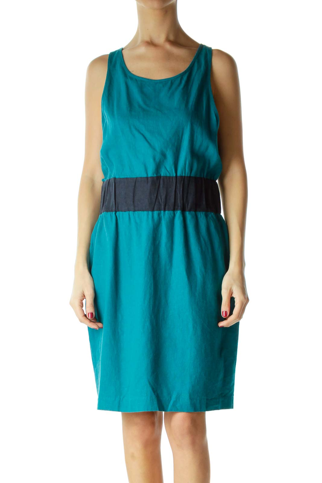 Blue Sleeveless Elastic Waist Day Dress