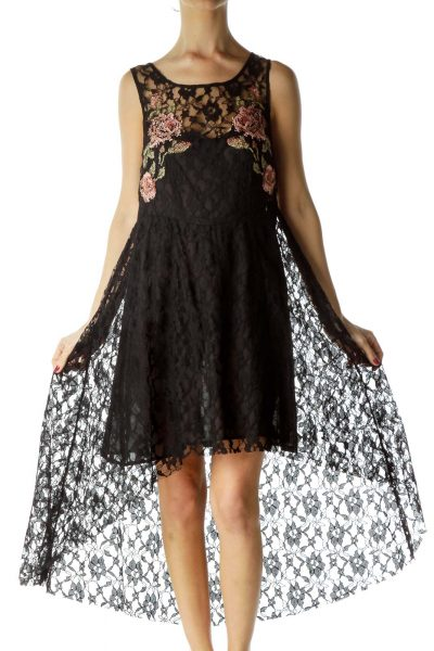 Black Lace Knitted Floral High-Low Day Dress