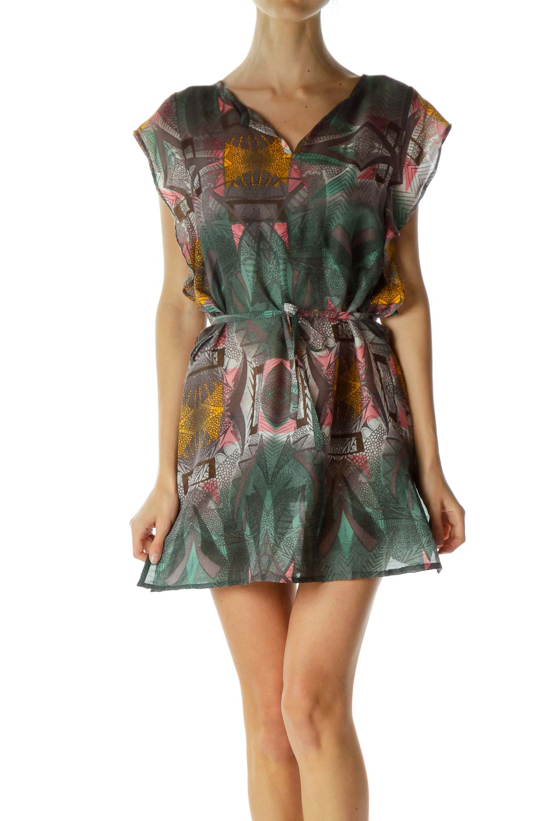 Multicolored Print Sleeveless Day Dress
