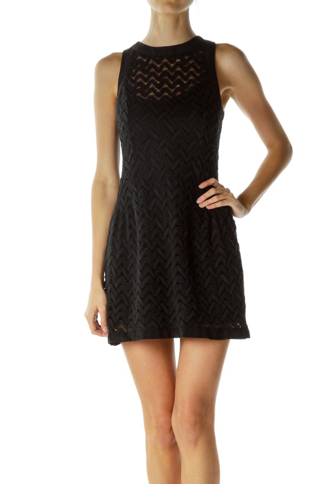 Black Sleeveless Knitted Dress with Slip
