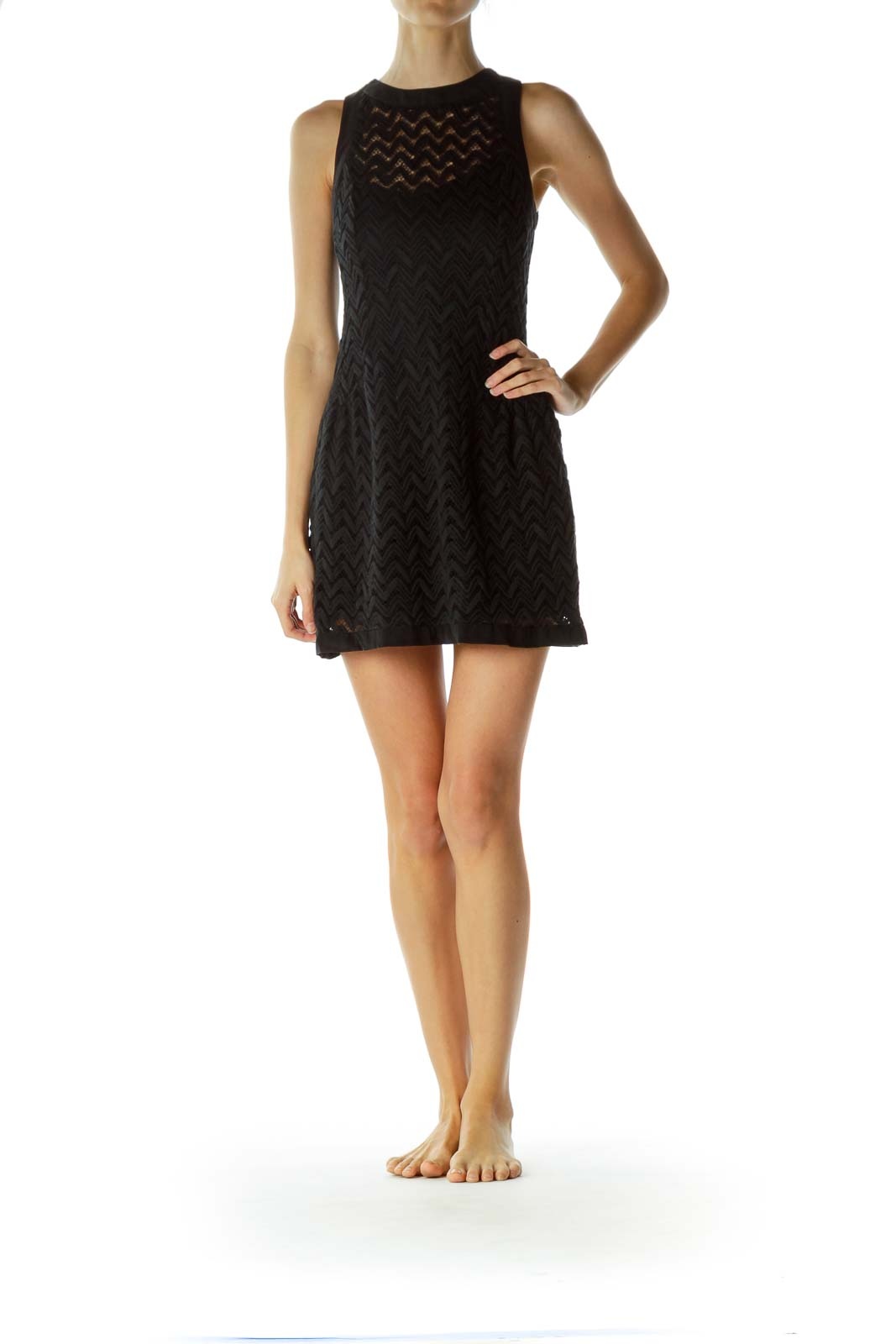 Black Sleeveless Knitted Dress with Slip