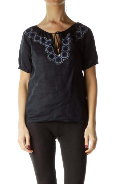 Navy Circle & Sequin Detailed Top