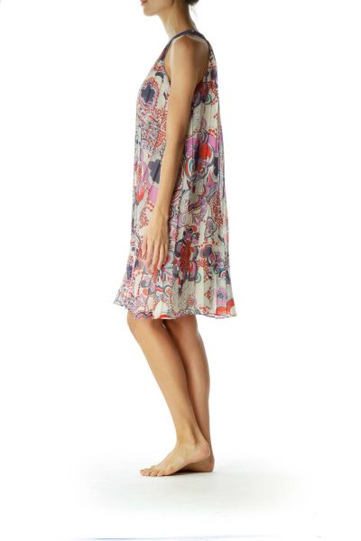 Multicolor Pleated Day Dress
