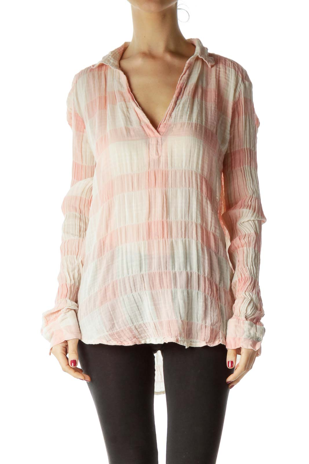 Pink Cream Checkered Blouse