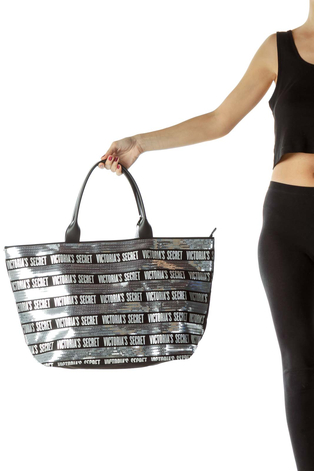 Black Silver Sequined Tote