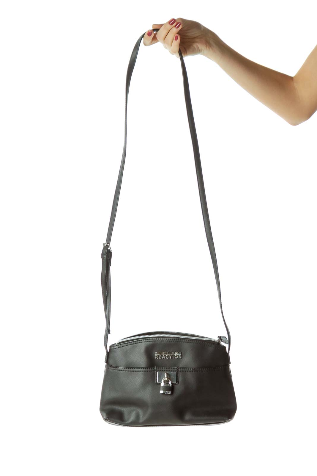 Black Crossbody Bag with Lock Detail