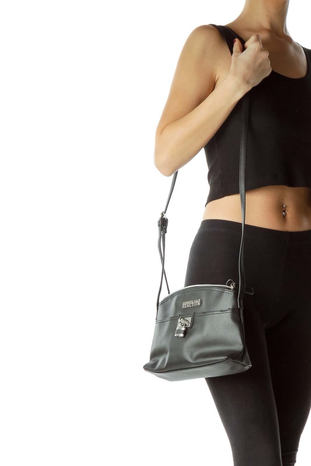 Black Crossbody Bag with Lock Detail