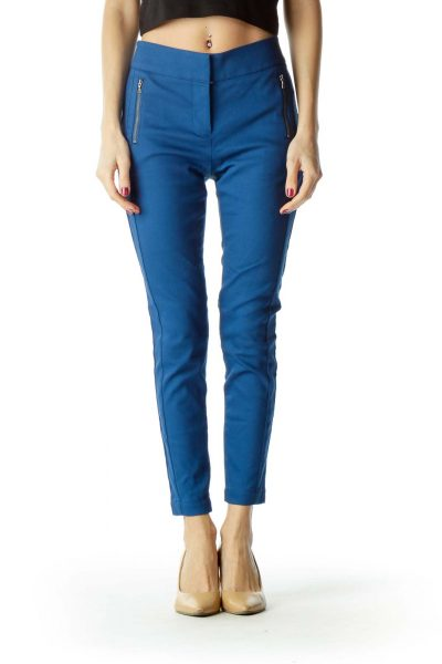 Blue Zippered Pockets Skinny Petite Pants