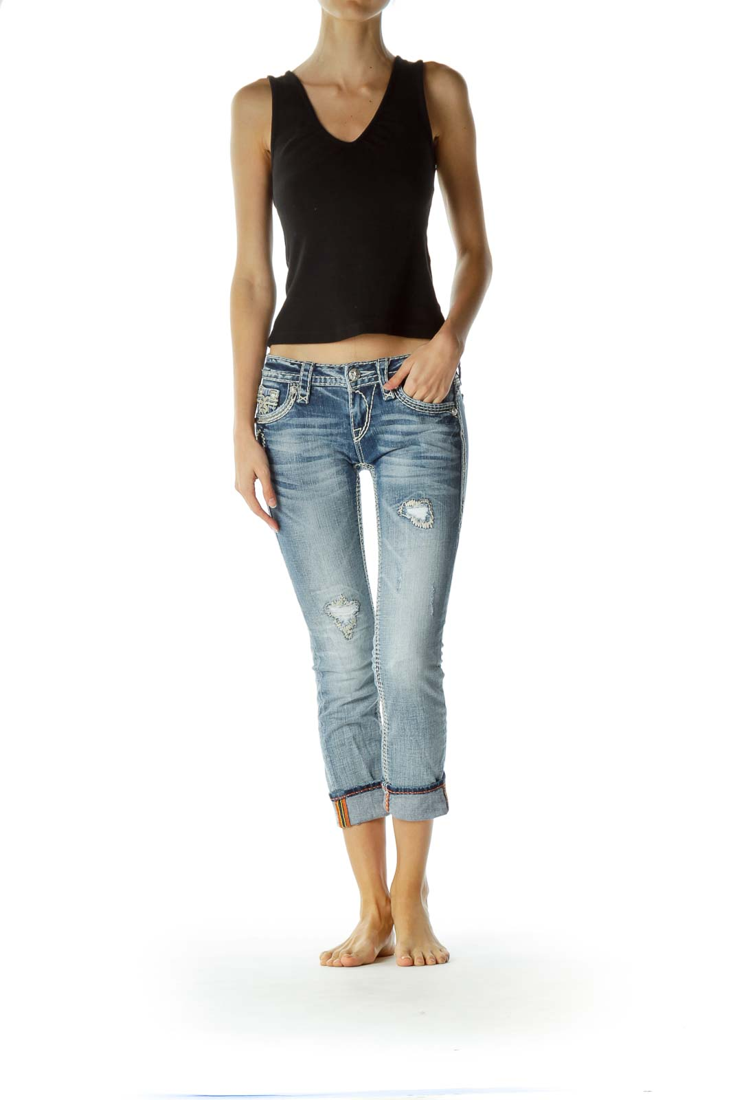Blue Light-Wash Stitched Cropped Jeans