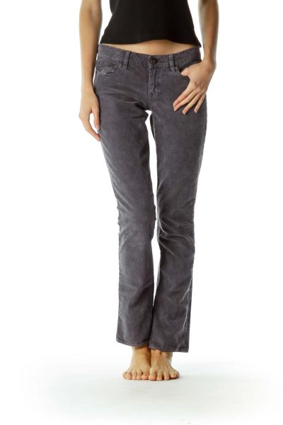 Gray Straight-Leg Corduroy 100% Cotton Pants