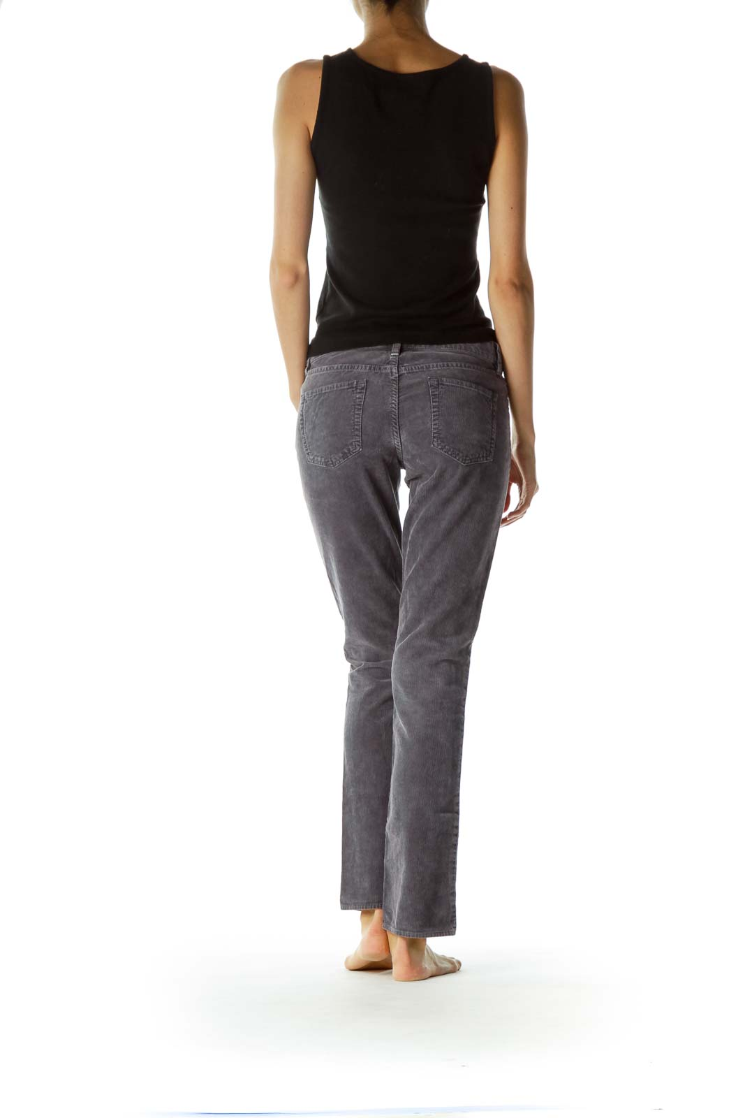 Gray Straight-Leg Corduroy 100% Cotton Pants